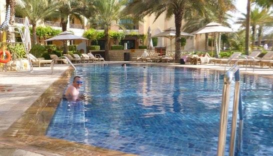 enjoying holiday in pool
