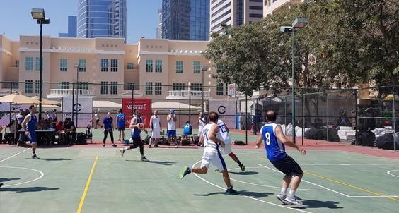American Dubai University students playing sports