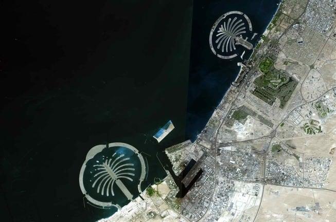 Palm Islands In Dubai satellite view nasa