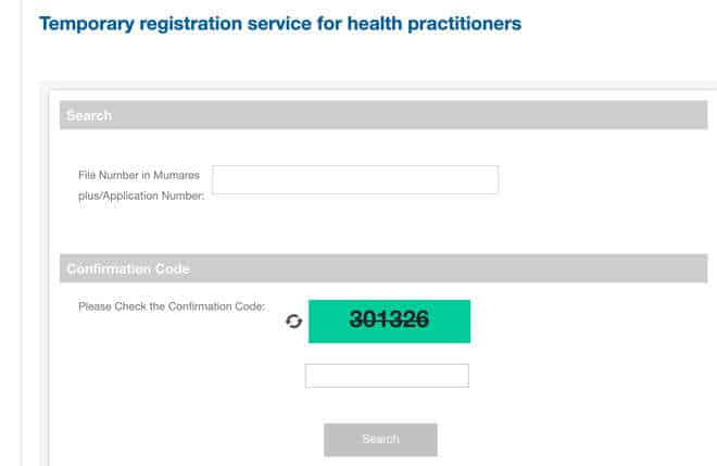 Temporary registration doctors